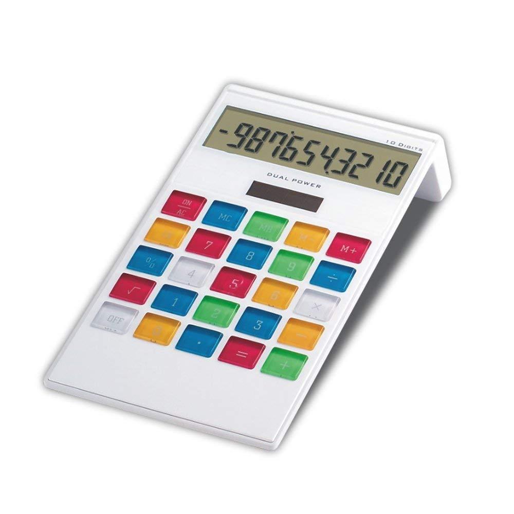 Electronic Desktop Solar Office Calculator Slim Design, 10 Digits Battery & Solar Powerd Standard Function Desktop Business Calculator Titled LCD Display Screen Home & Office