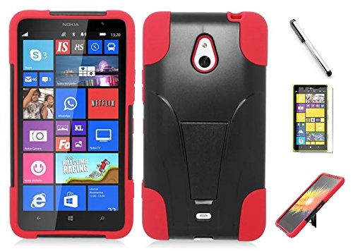 Nokia Lumia 1320 case, Luckiefind Premium Hybrid Dual Layer Case with Stand, Stylus Pen, Screen Protector Accessory. (Stand (Nokia Stylus)