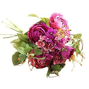 Kdimeng Realistic Artificial Flowers Rose Hydrangea Silk Fake Flower Bouquet Faux Greenery Shrubs for Home Kitchen Fence Garden Yard Bridal Wedding Party Festival Event D¨¦cor 66