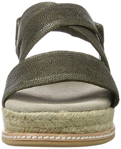 Shabbies Amsterdam Shabbies Sandale Metallic Mit Fußbett - Sandalias Mujer Verde (Dark Olive)
