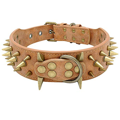 Beirui 2quot Spiked Leather Dog Collar  AntiBite Sharp Rivet Studded for Pit Bull Medium Large DogsBrown Neck for 185235quot Total Length 255quot
