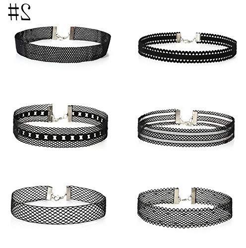 Werrox 6Pcs/Set Gothic Punk Velvet Tattoo Lace Choker Collar Pendant Fashion Necklace | Model NCKLCS - 21754 |]()