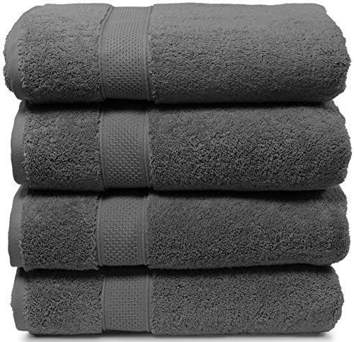 4 Piece Bath Towel Set. 2017(New Collection).Premium Quality Turkish Towels. Super Soft, Plush and Highly Absorbent. Set Includes 4 Pieces of Bath Towels. By Maura (Bath Towel - Set of 4, Space Gray) (Best Absorbent Bath Towels)