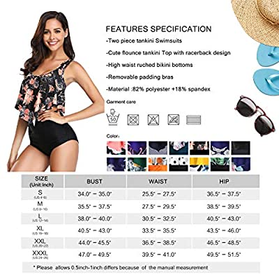 MARINAVIDA Swimsuit for Women Two Piece Bathing Suit Top Ruffled Racerback High Waisted Tankini: Clothing