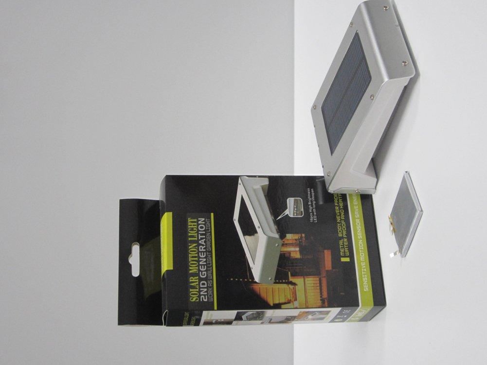 ACMESHINE Automatically Sense 16 LED Solar Panel Power Light Motion Sensor Garden Lamp (Weatherproof, Built-in 1500 MAH Li Battery)