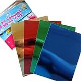 A4 carte de miroir coloré - 12 feuilles -3 de chacun, cuivre métallique, Bleu, Vert, Rouge