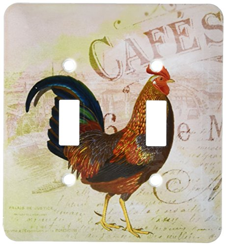 (3dRose lsp_123379_2 French Rooster Café Vintage Art Light Switch Cover)