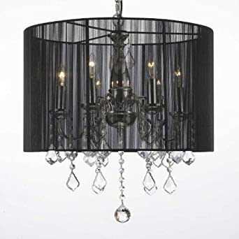 CRYSTAL CHANDELIER WITH SHADE SWAG PLUG IN-CHANDELIER W 14 FEET OF HANGING CHAIN AND WIRE