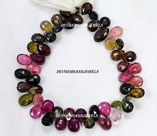1 Strand Fine Quality Natural Multi Tourmaline Gemstone Faceted Pear 7X10 to 7.5 X11 mm Approx Beads Briolette Full 8 Inch Strand - in Wholesale - Briolette Gemstone Pear Beads