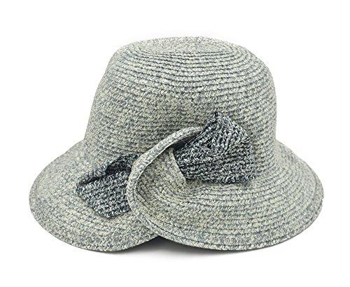 Melesh Fashion Womens Summer Beach Sun Straw Hat (Gray - Mixed)