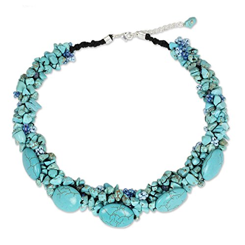 NOVICA Dyed Magnesite and Glass Beaded Handmade Necklace 'Gush', 17.25