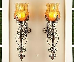 Set of 2 Bronze Elegant Scrollwork Decorative Hurricane Amber Glass Candle Holder Sconce Metal Vintage Style Decorative Home Accent Decoration