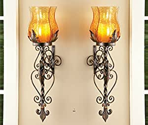 Amazon Com Set Of 2 Bronze Elegant Scrollwork Decorative