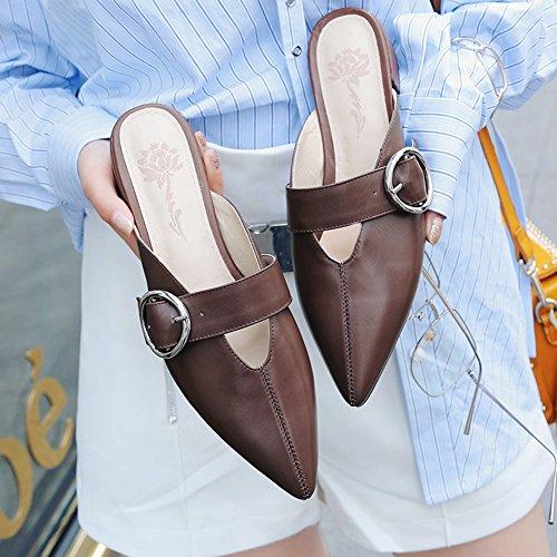 Singole Pantofole Scarpe Marrone dimensioni Donna 5 Sandali Moda Bassi Colore UK4 QIDI UE37 5 Tacchi Stagione Marrone Estiva zB1w8