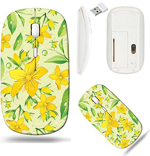 Liili Wireless Mouse White Base Travel 2.4G Wireless Mice with USB Receiver, Click with 1000 DPI for notebook, pc, laptop, computer, mac book Elegance Seamless beige and Hypericum with green