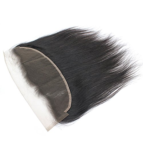 Forawme Virgin Brazilian Hair Full Lace Frontals Human Hair 12 Inch 130% 1B Natural Color Ear To Ear Pre Plucked Silky Straight Lace Frontal Closure With Baby Hair