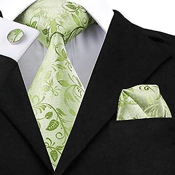 HYCZJH Conjuntos de Mancuernas con Lazo Floral Verde Corbatas de ...