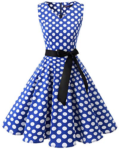 Bridesmay Classe V-cou Audrey Hepburn 1950 Robe Rockabilly Swing Cru Point Blanc Bleu Royal Féminin