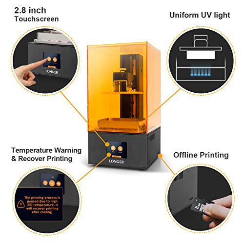 "LGT Longer Orange 10 SLA 3D Printer, LCD Resin 3D Printer with Upgraded Parallel UV LED Light, Fast Cooling System & Resume Printing, Off-line Printing, Build Size 3.86"" x 2.17"" x 5.5"", Metal"