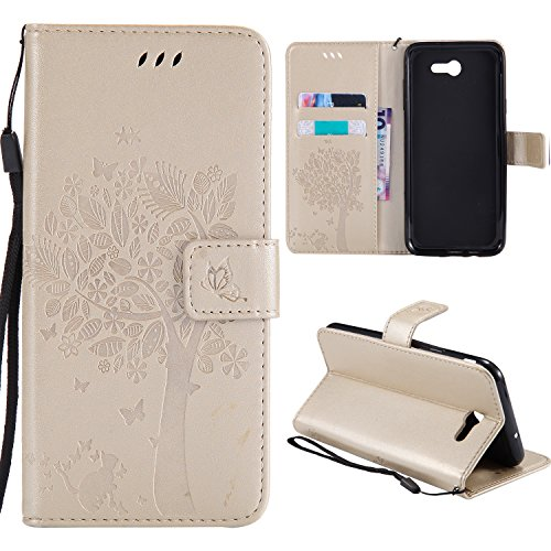 Galaxy J3 Prime Wallet Case,HAOTP Love Tree Embossed Plants PU Flip Stand ID Card Holders TPU Inner Bumper Leather Case for Samsung Galaxy J3 Emerge / J3 2017 / Amp Prime 2 / Express Prime 2 Gold