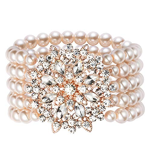 Coucoland 1920s Gatsby Pearl Bracelet Flapper Imitation Pearl Bracelet (Rose Gold 1) ()