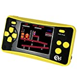 QINGSHE Retro Portable Game Console, 2.5 Inch Screen 182 Games Built in Handheld Game Console Kids, Arcade Classic TV Output Video Game Player, Best Birthday Gift Children-Yellow