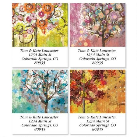 Siebert's Seasons Square Address Labels (4 Designs) - Set of 144 1-1/2 x 1-3/4 Self-Adhesive, Flat-Sheet labels