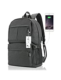 Mochila para computadora portátil, euateo, mochila escolar de 15 y 39,6 cm con puerto de carga USB Mochila para viaje ligera para hombre, grande (negro)