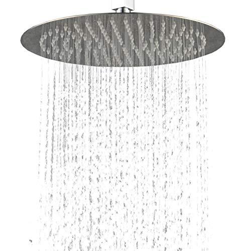 Hiendure 304-grade Stainless Steel 16-inch Solid Round Ultra Thin Rain Shower Head, Chrome by Hiendure