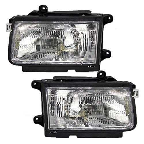 Headlights Headlamps Driver and Passenger Replacements for 98-99 Isuzu Rodeo Amigo Honda Passport SUV 8-97205-901-0 -