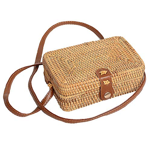 Holiday Womens Bag - ZHUOHONG Rattan Bag - Round/Square Summer Straw Bag Holiday Messenger Bag for Women/Girls