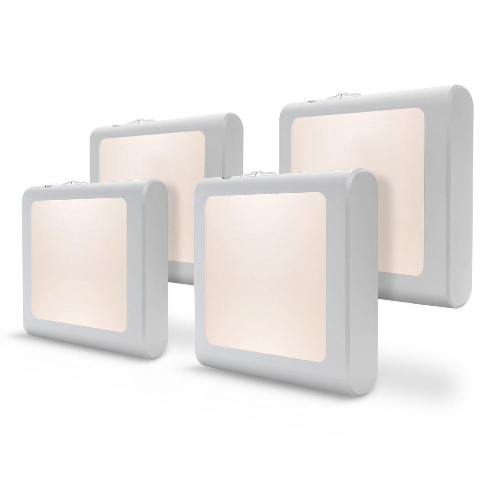 [4Pack] Vintar Plug-in Led Night Light with Auto Dusk to Dawn Sensor,Adjustable Brightness Warm White Lights for Hallway,Bedroom, Kids Room, Kitchen, Stairway,Bathroom