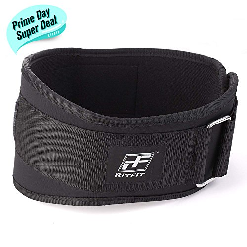 RitFit Weight Lifting Belt - Great for Squats, Crossfit, Lunges, Deadlift, Thrusters - Men and Women - 6 Inch Black - Firm & Comfortable Lumbar Support with Back Injury (Belt Gym)