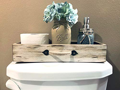 - DRAWER with JUTE Handle *Quart Mason Canning Jar, Flower, Soap Dispenser (optional), Distressed Wood Tray *BEAUTIFUL Bathroom decor for toilet tank, counter, kitchen table, and more! 15.75