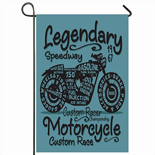 (Ahawoso Outdoor Garden Flag 12x18 Inches Riders Blue Denim Vintage Motorcycle Graphics Sports Stamp Recreation Gasoline Raceway Road Tee Biker Home Decor Seasonal Double Sides House Yard Sign)