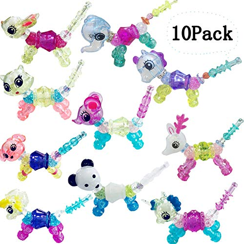 Fshli 10 Pack DIY Make a Bracelet or Twist into a Pet Magic Bracelet Set ,Magical Animal Twist Bracelet, Cute Transformable Collectible for Kids Girls