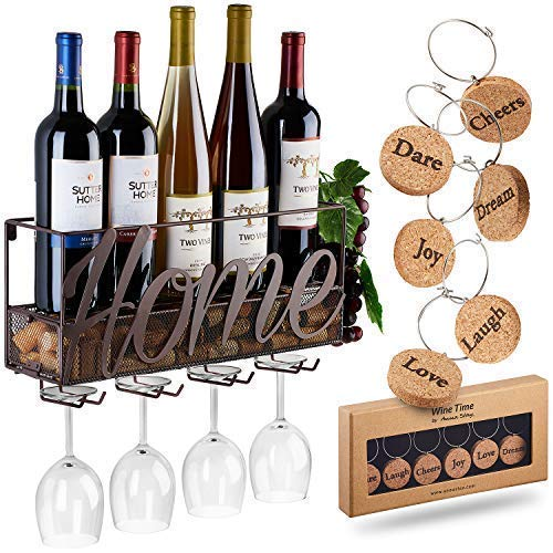 Wall Mounted Wine Rack | Bottle & Glass Holder | Cork Storage Store Red, White, Champagne | Come with 6 Cork Wine Charms | Home & Kitchen Décor | Storage - Wine Glasses Custom
