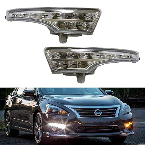 iJDMTOY LED Daytime Running Lights Assembly For 2013-2015 Nissan Altima Sedan, Exact Fit High Power Assy Powered By (10) Xenon White LED as DRL & (10) Amber Yellow LED as Turn Signals