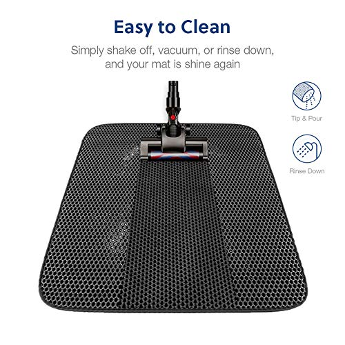 WePet Cat Litter Mat, Kitty Litter Trapping Mat, Large Size, Honeycomb Double Layer Mats, No Phthalate, Urine Waterproof, Easy Clean, Scatter Control, Catcher Litter Box Rug Carpet 30x25 Inch Black