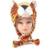 Krystle Plush Animal Hat Costume Cap Cute Soft Faux Fur Stuffed Toy Hood (TIGER)