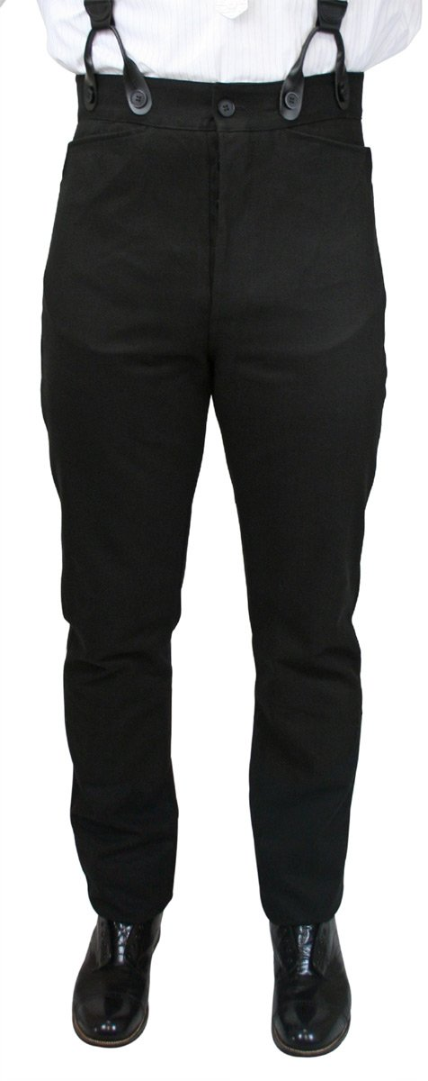 Historical Emporium Men's High Waist 100% Brushed Cotton Trousers 40 Black