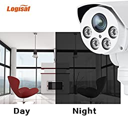 Logisaf HD 1080P PTZ Outdoor Security IP Camera Audio 4X Zoom 2.8-12mm Varifocal Lens IR Cut Built-in 16G Micro SD Card Remote Viewing Motion Detection Pan Tilt Zoom Video CCTV Camera