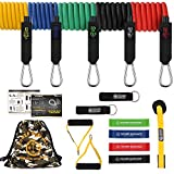 POWER GUIDANCE 16 pcs Resistance Bands Set, Stretch Training Set with 5 Exercise Bands, Resistance Loop Bands, Handles, Door Anchor, Ankle Straps and Carry Bag