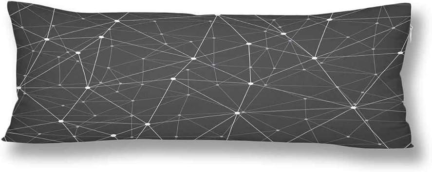 CiCiDi Seitenschl/äferkissen Kissen-Bezug 40x145 cm Graustufen geometrische Verbindung Atmungsaktives Kissenh/üllen mit Rei/ßverschluss Baumwollen und Polyester