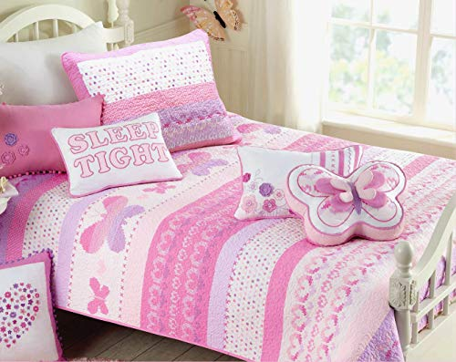 Cozy Line Home Fashions Butterfly Bedding Quilt Set, 3D Print Pattern Pink Orchid Light Purple Heart Dot 100% Cotton Bedspread Coverlet (Butterfly, Twin - 2 Piece: 1 Quilt + 1 Standard Sham) (Light Purple Bedding Twin)
