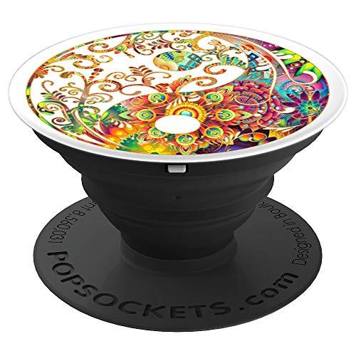 Yin Yang Floral Boho Mandala Zen Meditation Yoga Design - PopSockets Grip and Stand for Phones and Tablets