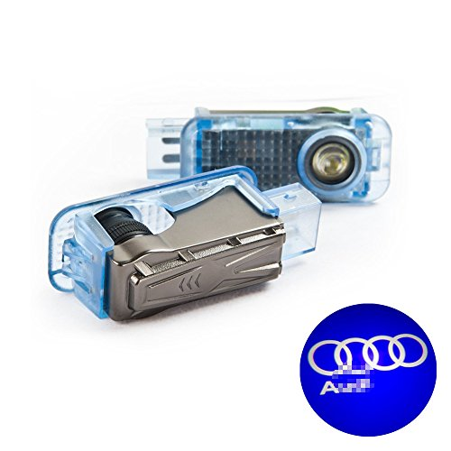 BAILONGJU No Drilling No Rewiring No Fading Car Door LED Logo Projector Ghost Shadow Lights compatible with Audi 2-pc Set
