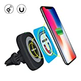 Qi Magnetic Wireless Charger Vent Car Mount,MOZEEDA Wireless Car Charger Air Vent Magnetic Phone Holder Charger With Magnet Patch For iPhone X 8 Plus Samsung Galaxy Note 8 S7 Google Nexus