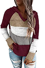 BLENCOT Women's Lightweight Color Block Hooded Sweaters Drawstring Hoodies Pullover Sweatsh