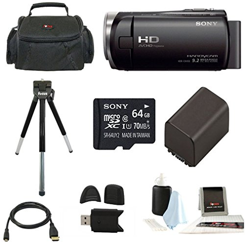 Sony HDR-CX455 Handycam Full HD 1080p Camcorder w/ Lithium Ion Battery & 64 GB Micro SD Card Bundle by Sony